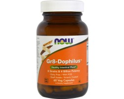 NOW Foods GR-8 Dophilus - 60 Капсули - Пробиотици - комбинация от осем различни вида бактерии